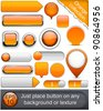 Blank orange web buttons for website or app. Vector eps10. - stock vector