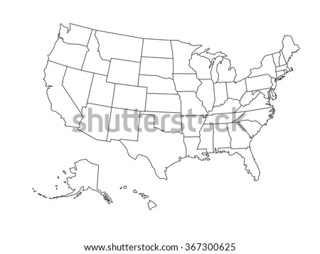 Blank outline map of USA - stock vector
