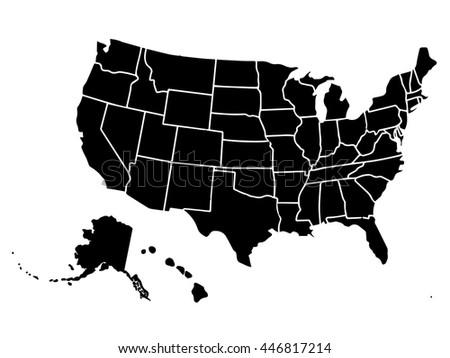 Blank Outline Map Usa Stock Vector 446817214 Shutterstock
