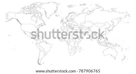 World map outline thin country borders stock vector 769200094 blank outline map of world worksheet for geography teachers usable as geographical test in school gumiabroncs Images
