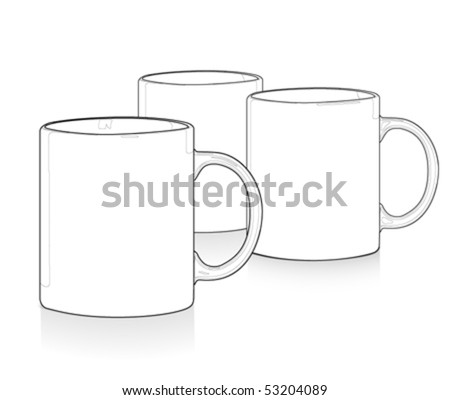 Blank outlined mugs - stock vector