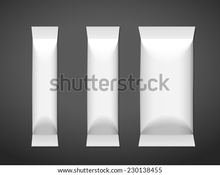 blank package set isolated on black background - stock vector
