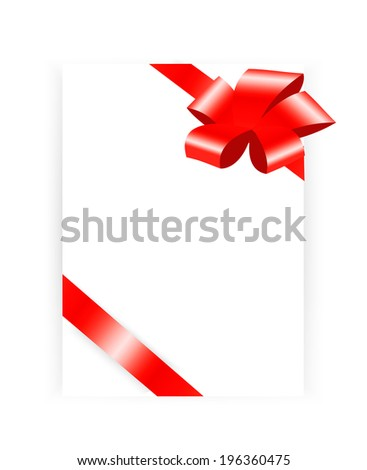 Blank page with red ribbon and bow, vector illustration - stock vector