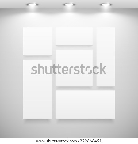 blank paintings on gallery wall with reflectors - stock vector