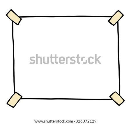 blank paper and sticky tape / cartoon vector and illustration, hand drawn style, isolated on white background.