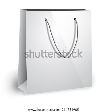 Blank paper bag template - stock vector