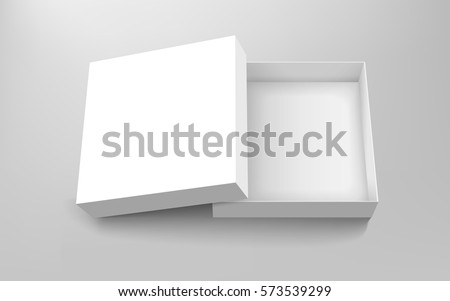 Blank paper box, top view of empty open box isolated on gray background, 3d illustration