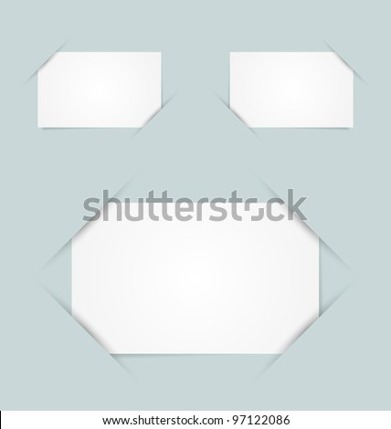 Blank paper cards inserted into another piece of paper - stock vector