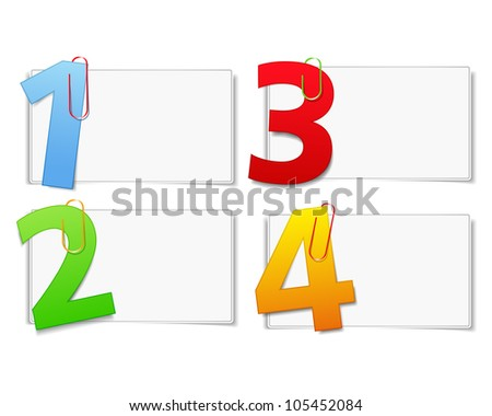 Blank paper cards with numbers, vector eps10 illustration
