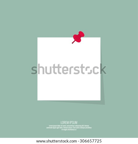 Blank paper note with push pin. Vector design in a flat style. Sheet for notes, memos - stock vector