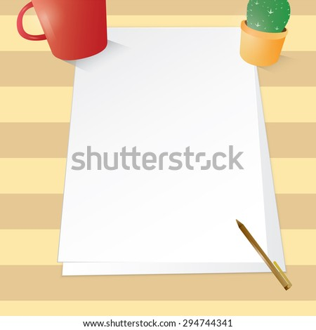 Blank paper on the table with pen , cactus pot for your work contain EPS10 format , design layout , stationery