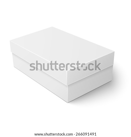 Blank paper or cardboard shoebox template with closed lid on white background Packaging collection. Vector illustration. - stock vector