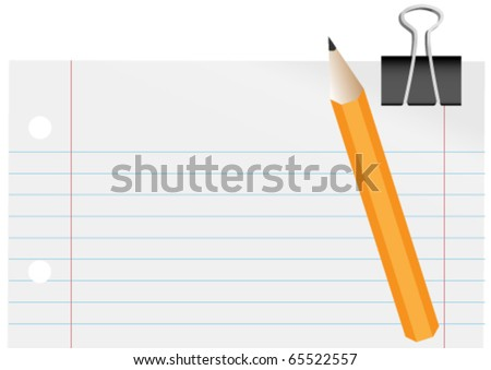 Blank Paper, Pencil and Paper Clip - stock vector