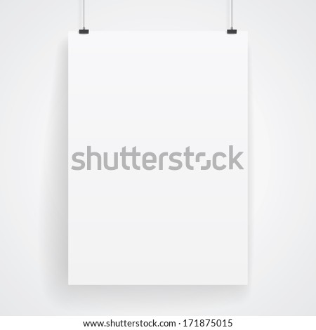 Blank paper poster on white wall. Vector eps-10. - stock vector