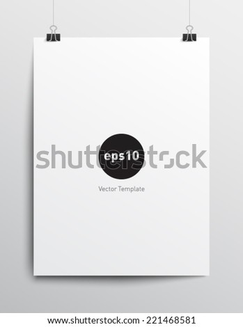 Blank paper poster template with paper clips on gray background. Clean and realistic style design