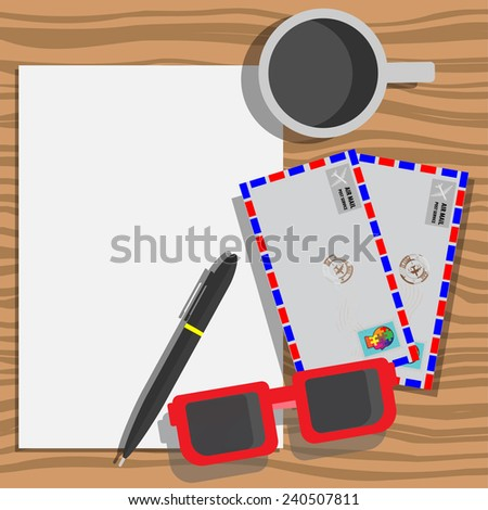 Blank paper prepare for write to send Air mail information  - stock vector