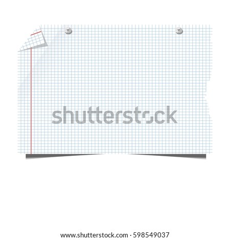Blank Paper Sheet Squared Lined School Stock Vector 598549037