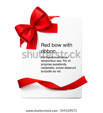 Blank paper sheet with bow and ribbon. Vector illustration. Can be use for decoration greetings, card, coupon, etc. - stock vector
