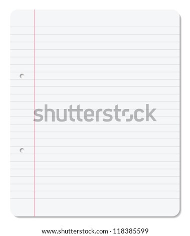 Blank paper sheet with lines, margin and holes. - stock vector