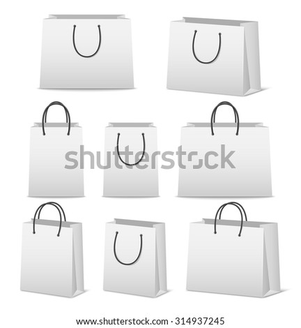 Blank paper shopping bags set isolated on white. Vector EPS10 illustration.