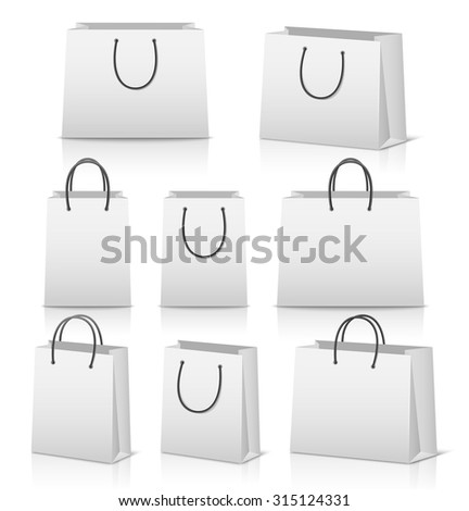Blank paper shopping bags set isolated on white with reflection. Vector EPS10 illustration.