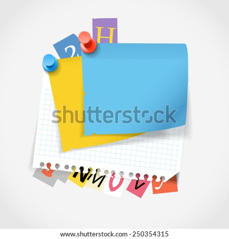 Blank paper stickers and color paper letters. Template for a text - stock vector