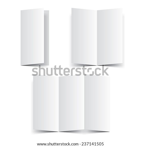 Blank paper template booklet, brochure or leaflet vector. Fold paper with realistic shadow mock up isolated on white background.