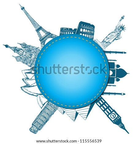 Blank paper with blue. World landmarks vector. - stock vector
