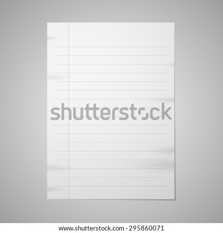 Blank paper with front red line - stock vector