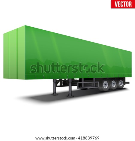 Blank parked green semi trailer with canvas cover. Perspective side view. Vector Illustration Isolated on white background - stock vector