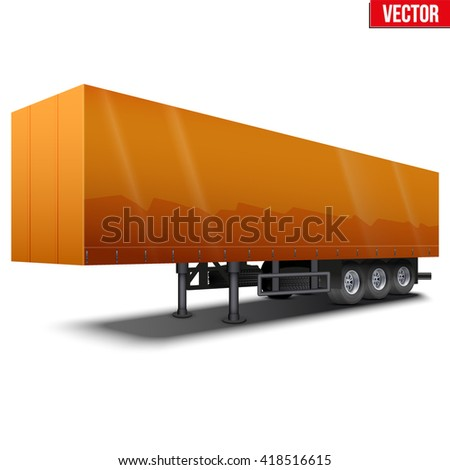 Blank parked orange semi trailer with canvas cover. Perspective side view. Vector Illustration Isolated on white background - stock vector