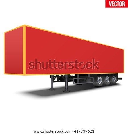 Blank parked van red semi trailer. Perspective side view. Vector Illustration Isolated on white background - stock vector