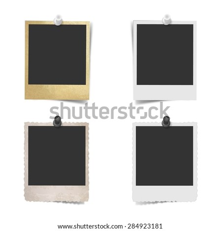 Blank photo frame with pushpin on white wall - stock vector