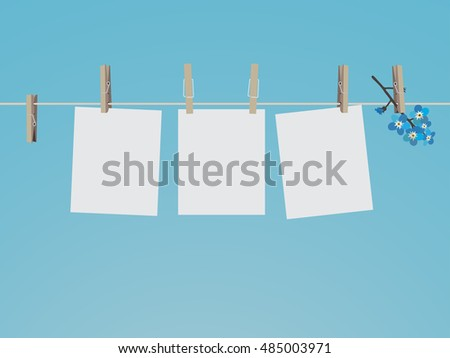 Blank photo frames set hanging on clothespins. Composition of blank photo frames and forget-me-not. Modern flat design banner. Vector EPS 10
