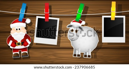 Blank photo frames, sheep and Santa Claus on a clothesline. Vector illustration.  - stock vector