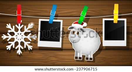 Blank photo frames, sheep and snowflake on a clothesline. Vector illustration.  - stock vector