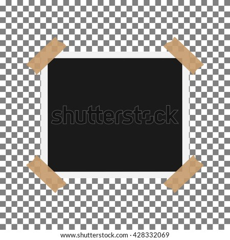 Blank photo polaroid frame with adhesive tape isolated on transparent background, shadow effect and empty space for your photograph and picture. EPS 10 vector illustration - stock vector