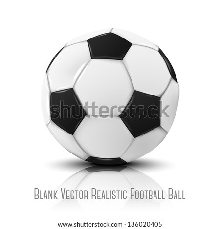 Blank photo realistic isolated on white football ball with reflection, for your design. Vector - stock vector