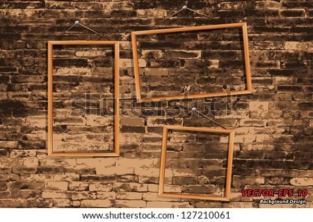 blank photo wood frame on old brick wall, vector illustration - stock vector