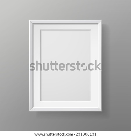 blank picture frame isolated on grey wall  - stock vector