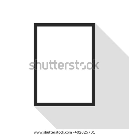 Blank picture frame on the wall, isolated with long shadow, vector illustration