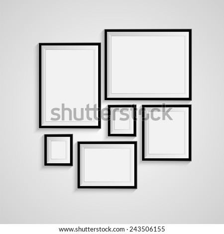 Blank picture frame template set isolated on wall. Vector - stock vector