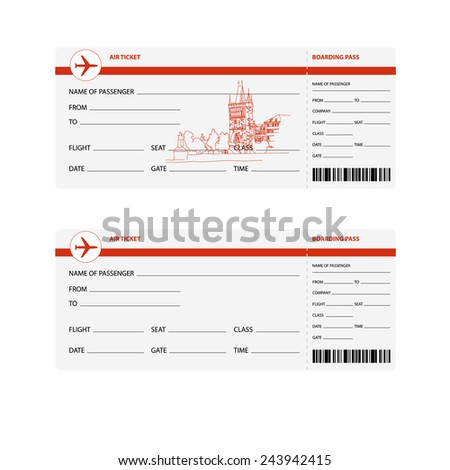 Blank plane tickets for trip to Prague isolated vector illustration - stock vector