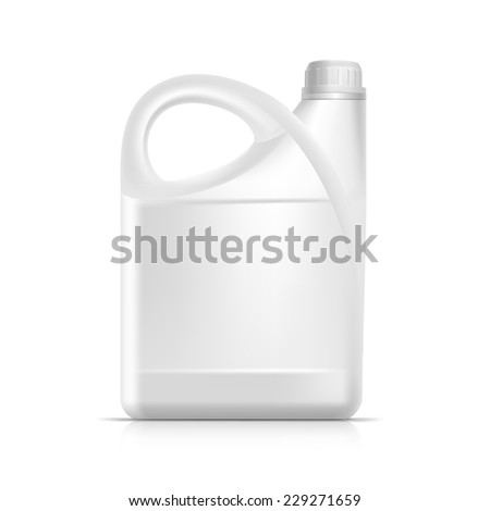 Blank Plastic Jerrycan Canister Gallon Oil Cleanser Detergent Abstergent Isolated - stock vector
