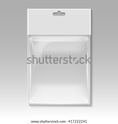 Blank plastic pocket bag vector template. Container polythene plastic and package for product, design sterile plastic bag illustration - stock vector