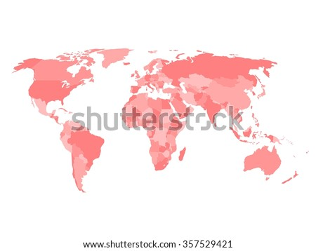 Blank political map of world in four shades of red and white background. Simplified vector map. - stock vector