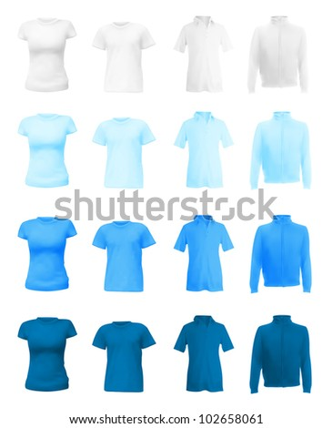 Blank polo shirts, t-shirts and hoodie set. - stock vector