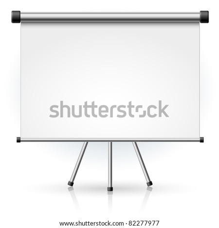 Blank portable projection screen over white background for design - stock vector