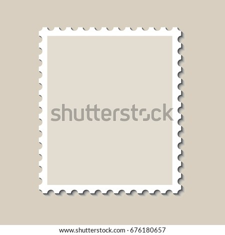 Blank Postage Stamp Template Shadow Vector Stock Vector