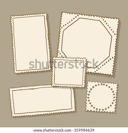 Blank postage stamps - stock vector
